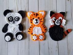 Animals of Asia Applique Pack- Crochet Pattern Only- Panda- Tiger- Red Panda- Crochet Applique Pattern Baby Applique, Applique Patterns, Crochet Patterns, All Animals Pictures, Motifs D'appliques, Christmas Photo Props, Fur Pom Pom, Yarn Needle, Yarn Colors