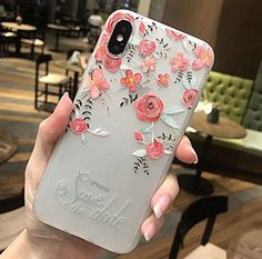 iPhone X Soft Case,LuoMing Emboss Beautiful Flower Pattern Slim fit Shock-Absorbing Soft Rubber Clear TPU Skin Cover Case for iPhone X (Red Rose) Girly Phone Cases, Cell Phone Covers, Iphone Cases, Iphone 8, Louis Vuitton Phone Case, Phone Accesories, Aesthetic Phone Case, Cute Cases, Iphone Models