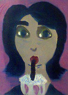 Cris Tomando Milk Shake, tinta a óleo sobre tela, 2012, por Jéssica Batista.