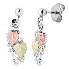 Sterling Silver on Black Hills Gold Dangling Leaves Earrings