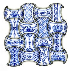 Linda's Crafty Inspirations: Blue & White Zentangles