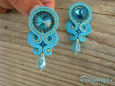 Ridgways / Simple teardrop Turquoise/Gold...soutache Plastic Canvas Tissue Boxes, Plastic Canvas Patterns, Soutache Necklace, Polymer Clay Charms, Monster High Dolls, Tissue Box Covers, Neck Warmer, Handmade Necklaces, Belly Button Rings