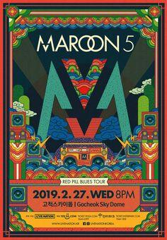 Maroon 5 2019 Korea Tour Special Poster on Behance Maroon 5, Graphic Design Posters, Graphic Design Illustration, Illustration Art, Pop Posters, Band Posters, Korean Painting, Asian Design, Korea Design