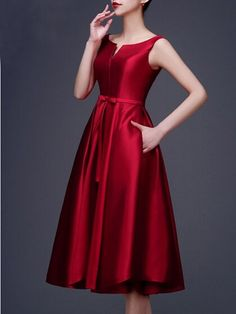 Wine Red Plain Pleated Bowknot Waist Belt Sleeveless Elegant Party Midi Dress - Dresses