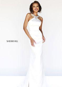 Sherri Hill 21240 Ivory Beaded Halter Gown 2014 Sale