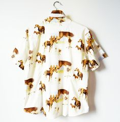 Vintage Equestrian Horse Blouse / 90s Grunge Floral Horse Button Down / Equestrian Floral Shirt by thehappyforest on Etsy