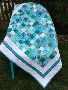 Beautiful quilt handmade by MarmieMadeIt; perfect for baby, toddler or as a lap quilt, Ocean blues and greens Picnic Blanket, Outdoor Blanket, Baby Patchwork Quilt, Toddler Blanket, Longarm Quilting, Quilt Making, Boy Or Girl, Blues, Ocean