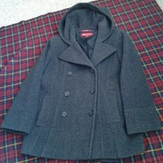 Ladies Dark gray  hooded peacoat REDUCED 3 lbs weight, rarely worn, bought  in 2005 .cared in a pet n smoke free home. 100% wool shell, 100% acetate lining. Professionally dry cleaned every after cold season. black . lining.  2 sideslide pockets apprx 29 inches fr. Shoulder down. In a veri great shape.#2 n 3 pics r nearer 2d  actual color Anne Klein Jackets & Coats Pea Coats