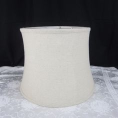 Vintage white wicker rattan lamp shade 11 x 15 base wire frame fabric linen lamp shade 11 h x 15 w sturdy wire frame unbranded keyboard keysfo Image collections