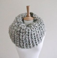 Cowl Frost Bite - large grey crocheted cowl pattern for gray infinity neck warmer puffy ears.
