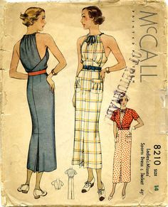 McCalls 1930s Sewing Pattern 8210: Fabulous Halter-Neck Sports Dress and Jacket