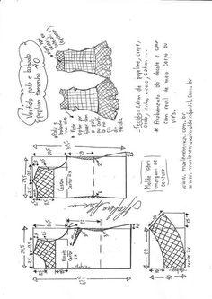 Vestido com pala e babado Peplum Sewing Clothes Women, Diy Clothes, Dress Making Patterns, Pattern Making, Sewing Patterns Free, Clothing Patterns, Ruffle Skirt Tutorial, Costura Diy, E 38