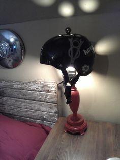 retired derby helmet turned bedside lamp. Is this taking derby too far?
