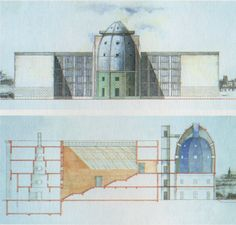 The Bonnefanten Museum by architect Aldo Rossi was built in Maastricht, Netherlands in Aldo Rossi, Invisible Cities, Architecture Drawings, Postmodernism, Facade, Taj Mahal, Louvre, Italy, Building