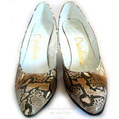 CRISTIAN SNAKE SKIN SNAKESKIN Animal Pattern Leather Womens High Heels SHOES $295