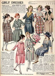 Bold colors and patterns were in style for dresses in the late-1910s. This page of girls' dresses in from the Spring 1919 Sears catalo...