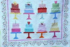 """""""Cake Walk"""" (pattern by Lori Holt) Jodi trimmed this with button """"cherries"""", ric rac, pom poms..."""