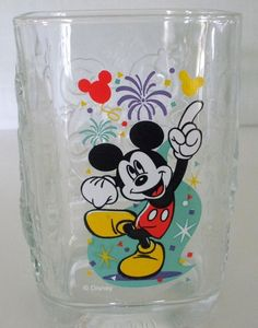 2000 McDonald's Disney World Millennium Mickey Mouse Magic Kingdom Square Glass #McDonalds