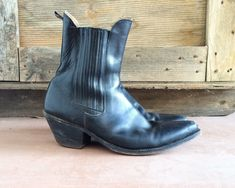 Vintage Tony Mora Men's black ankle boot EU size 43, Men's size 9.5 to 10 black Tony Mora ankle boot, short cowboy boot, Western ankle boot by romaarellano on Etsy https://www.etsy.com/listing/484766813/vintage-tony-mora-mens-black-ankle-boot