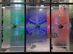 I chose this window display at Nike for line of goods. These all all the same shoes but each is a different color. Window Glass Design, Nike Retail, Shoe Releases, Seo Digital Marketing, Window Graphics, Merchandising Displays, World Of Color, Experiential, Design Reference