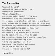 """Mary Oliver """"The Summer Day"""""""