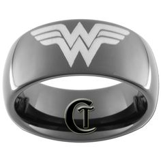 9mm Black Dome Tungsten Carbide Wonder Woman Ring Sizes 5-15 - FREE Shipping. $49.00, via Etsy.