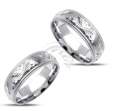 14k white Gold His and Her Wedding rings 7 mm