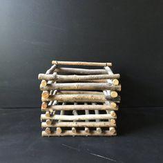 Twig basket vintage primitive planter basket by rustichacienda
