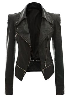 Fashionable Turn-Down Collar Zippered Long Sleeve PU Leather Jacket For Women