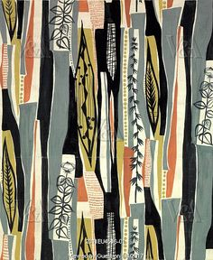 Oberon furnishing fabric, by Mary White for Edinburgh Weavers. UK, 1956. EDITORIAL USE ONLY