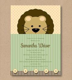 Gender Neutral Lion Baby Shower Invitation I by RoxterDesigns, $18.00