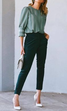 stylish+look+|+blouse+++white+heels+++pants+++bag