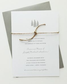 Aspen Wedding Invitation Deposit / Rehearsal Dinner Invitations / Rustic Wedding / Winter Wedding Invitations / Tree Wedding / Barn Wedding on Etsy, $50.00