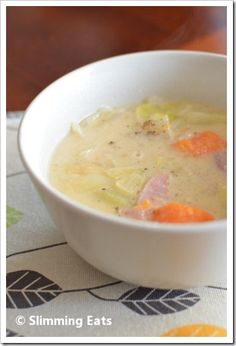 Slimming Eats - healthy delicious soups recipes - Slimming world, Weight Watchers, paleo, gluten free, dairy free Cabbage Potato Soup, Cabbage And Potatoes, Cabbage And Bacon, Slimming Eats, Slimming World Recipes, Wrap Recipes, Potato Recipes, Cooking Recipes, Healthy Recipes