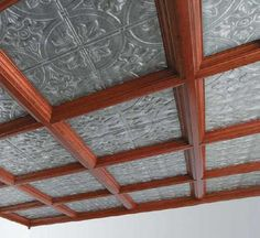Tin tiles and coffered ceiling - on a smaller scale of course. Drop Ceiling Basement, Accent Ceiling, Ceiling Tiles, Ceiling Decor, Ceiling Beams, Ceiling Design, Kitchen Ceilings, Wall Design, Wooden Ceilings