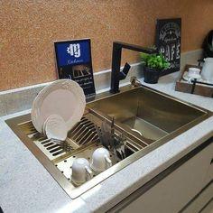 home and decor Modern Kitchen Sinks, Kitchen Sink Design, Diy Kitchen Cabinets, Modern Kitchen Design, Kitchen Furniture, Kitchen Decor, New Kitchen Interior, Kitchen Island With Stove, Luxury Bedroom Design