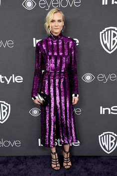 Diane Kruger - At InStyle and WB's Golden Globe After Party in Charlotte Olympia heels and a Swarovski earring.