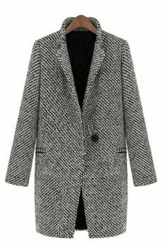 Black White Notch Stand Collar Long Sleeve Oversize Houndstooth Coat pictures