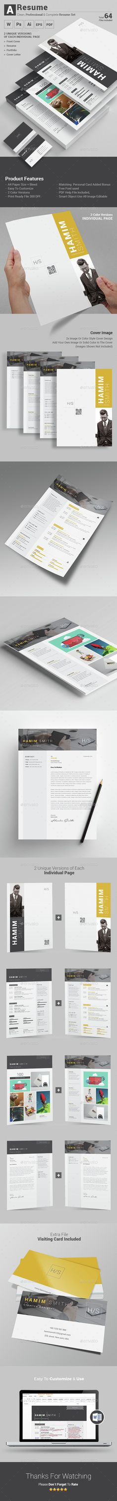 A Resume Set Templates PSD, Vector EPS, AI #design Download: http://graphicriver.net/item/a-resume-set/14512066?ref=ksioks