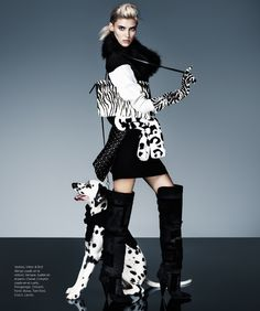 "Alison Nix Channels Cruella de Vil for Harper's Bazaar Latin America by Jason… October 2013. Dalmatian is ""Kipper"", Fenway's Yippie Kippie Ki-Yay"" at 8 months old."