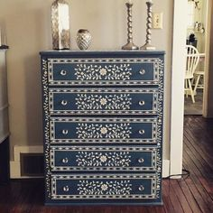 New indian furniture decor cutting edge stencils 61 Ideas Hand Painted Furniture, Refurbished Furniture, Paint Furniture, Repurposed Furniture, Furniture Makeover, Vintage Furniture, Furniture Decor, Furniture Stores, Bedroom Furniture