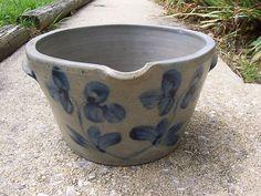 Gorgeous 19th C. decorated Stoneware Milk Pan !!  Decorated Baltimore Milk Pan