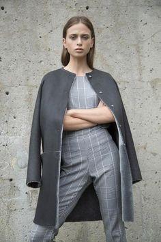KOJA | Women's Grey Merino Shearling Reversible Coat | Designed in NYC | Made in Germany | Free Shipping & Returns