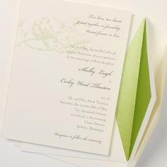 Fresh Ink: Green love bird wedding invitation