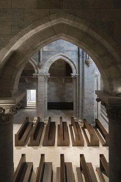 Interior view of the renovated 13th Century Pannonhalma Basilica by John Pawson.