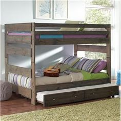 Wrangle Hill Full Over Full Bunk Bed with Pull out Trundle