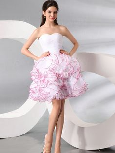 Perfectly Looking Organza A Line White Prom Dresses