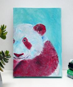 A cute giant panda painting in teal red and white on a small box canvas (A4 size, H X D X W29.7 cm x 21 cm x 3.8 cm). An original acrylic bear painting by  Caroline Skinner Art. Ready to hang or optional frame available. Farm Animals, Animals And Pets, Panda Painting, Bear Paintings, Artwork Online, A4 Size, Cute Panda, Small Boxes, Make You Smile