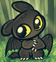 chibi toothless from How to Train Your Dragon! Chibis can be animals too...