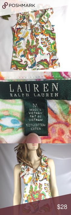 RALPH LAUREN FLORAL RUFFEL V-NECK SHIRT SIZE MED RALPH LAUREN FLORAL RUFFEL V-NECK SHIRT SIZE MED  VERY GOOD CONDITION!  SLEEVELESS, RUFFLE DESIGN WITH A V-NECKLINE  SMALL COLOR FADE, NO STAINS OR RIPS!  100% COTTON  SMOKE-FREE-HOME Lauren Ralph Lauren Tops